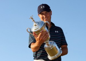 Spieth takes a moment to admire his US Open trophy. Spieth is now 2 for 2 at majors this year.