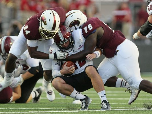ULM Defenders Gerrand Johnson (76) and Michael Johnson (34) (Photo Courtesy of Emerald McIntyre/The News-Star)