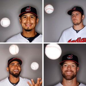 FILE - These are Feb. 27, 2016, file photos showing Cleveland Indians pitchers during the teams photo day in Glendale, Ariz. Clockwise from top left are Carlos Carrasco, Trevor Bauer, Korey Kluber and Danny Salazar. Salazar and Carrasco were 14-game winners for the Indians, and only part of a rotation that also included former first-round draft pick Trevor Bauer and 2014 American League Cy Young winner Corey Kluber. (AP Photo/Morry Gash, File) ORG XMIT: NY159